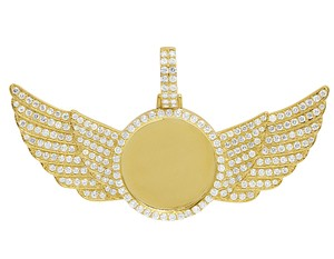 Jewelry Unlimited 10K Yellow Gold 3.5Ct Diamond Photo Engrave Wing Memory Pendant