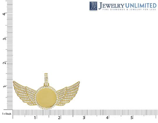 Jewelry Unlimited 10K Yellow Gold 3.5Ct Diamond Photo Engrave Wing Memory Pendant Image 1