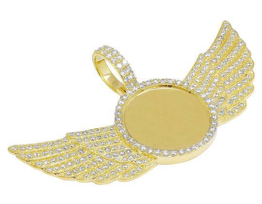 Jewelry Unlimited 10K Yellow Gold 3.5Ct Diamond Photo Engrave Wing Memory Pendant Image 3