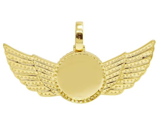 Jewelry Unlimited 10K Yellow Gold 3.5Ct Diamond Photo Engrave Wing Memory Pendant Image 4