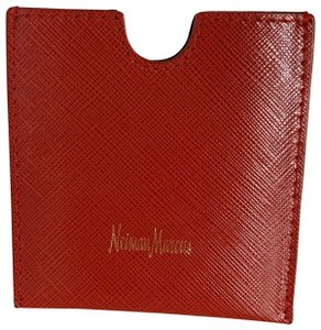 Neiman Marcus red saffiano Italy card case