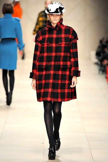 Burberry Sculptured Cocoon Taratan Runway Model Pea Coat Image 1