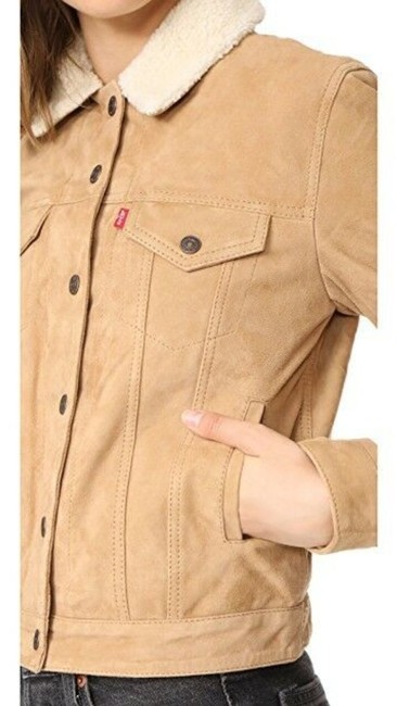 Levi's Trucker Warm Fur camel Leather Jacket Image 3