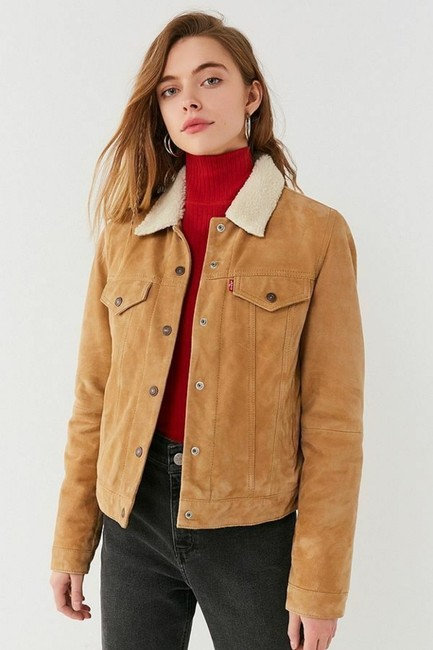 Levi's Trucker Warm Fur camel Leather Jacket Image 5