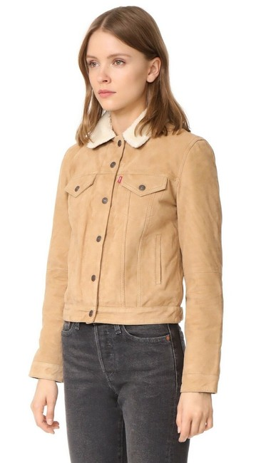 Levi's Trucker Warm Fur camel Leather Jacket Image 6