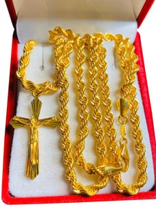 21K Saudi Gold 21K Saudi Gold Unisex Cross Necklace 24""