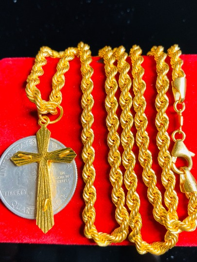 21K Saudi Gold 21K Saudi Gold Unisex Cross Necklace 24