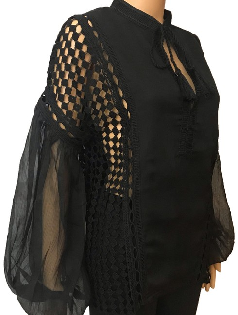 Preload https://img-static.tradesy.com/item/26233198/endless-rose-black-chiffon-lace-blouse-size-8-m-0-1-650-650.jpg