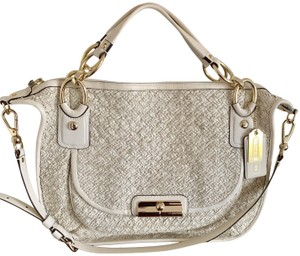 coach Woven Leather Signature Light Gold Hardware Shoulder Satchel in beige
