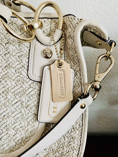 coach Woven Leather Signature Light Gold Hardware Shoulder Satchel in beige Image 2