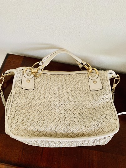 coach Woven Leather Signature Light Gold Hardware Shoulder Satchel in beige Image 3