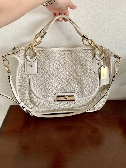 coach Woven Leather Signature Light Gold Hardware Shoulder Satchel in beige Image 4