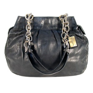 Alexis Hudson Slouchy Leather Chain Strap Satchel in Black