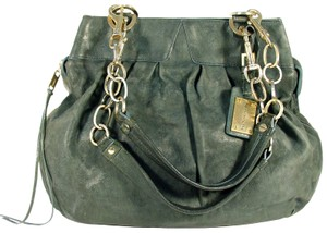 Alexis Hudson Slouchy Leather Chain Straps Large Satchel in Green