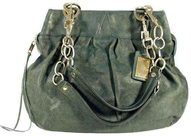 Item - Large Expandable Chain Straps Green Lambskin Leather Satchel