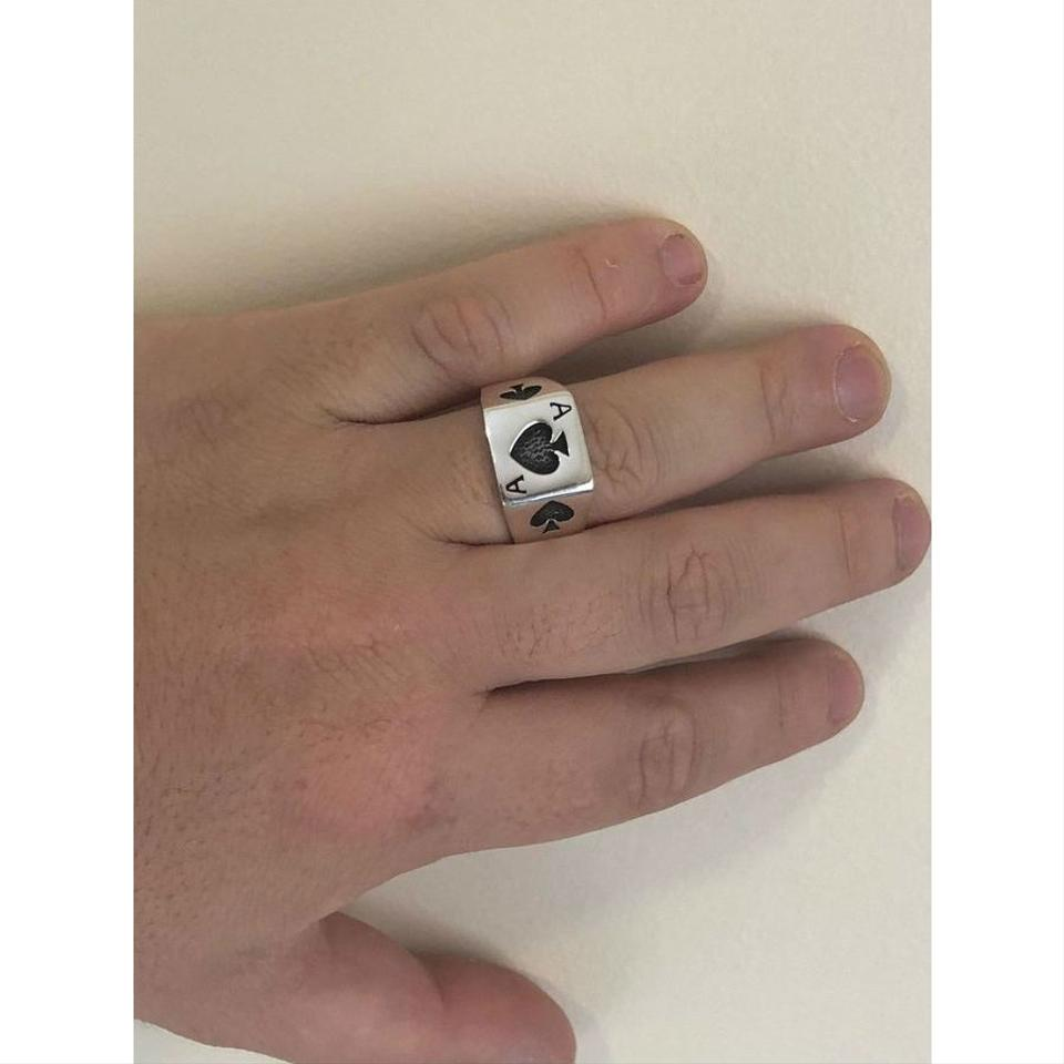 Ring Silver Hand With Ace Card