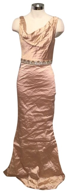 Item - Blush Cowl Neck Embellished Techno Metal Gown Long Formal Dress Size 2 (XS)
