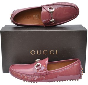 Gucci Horsebit Womens Drivers Dark Pink Flats