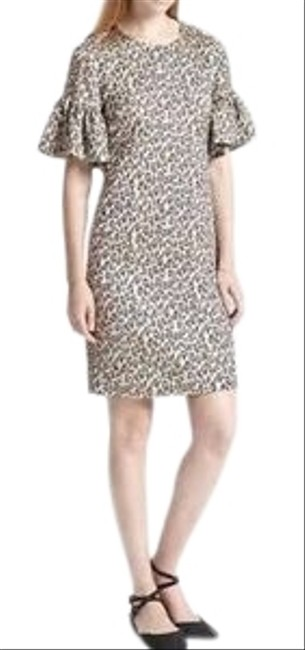 Item - Tan Black Brown Leopard Mid-length Cocktail Dress Size 2 (XS)