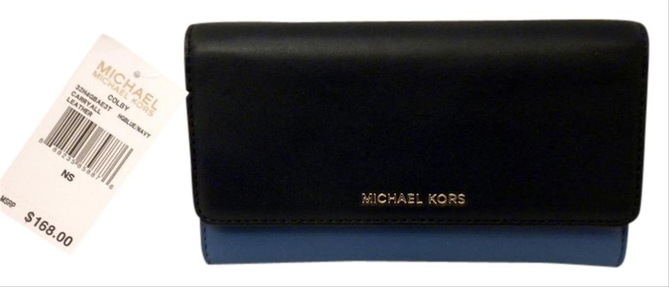 308be7aeefed MICHAEL Michael Kors MICHAEL KORS COLBY TRIFOLD LEATHER CARRYALL WALLET  HERITAGE BLUE/NAVY 32H4GBAE3T NWT ...