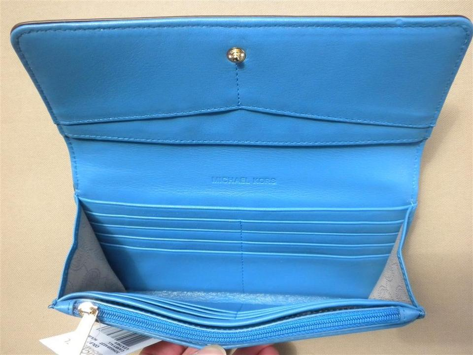 5046874e8025 MICHAEL Michael Kors MICHAEL KORS COLBY TRIFOLD LEATHER CARRYALL WALLET  HERITAGE BLUE/NAVY 32H4GBAE3T NWT. 1234567891011