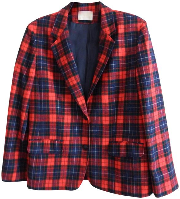 Item - Red/Blue/Green/White W Tartan Plaid R/B/G/W Blazer Size 10 (M)
