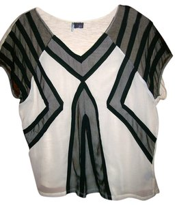 Sparkle & Fade Sheer Top Black & Cream
