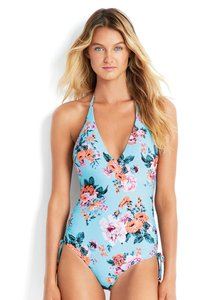 SeaFolly Seafolly Vintage Wildflower Deep V One-Piece Swimsuit