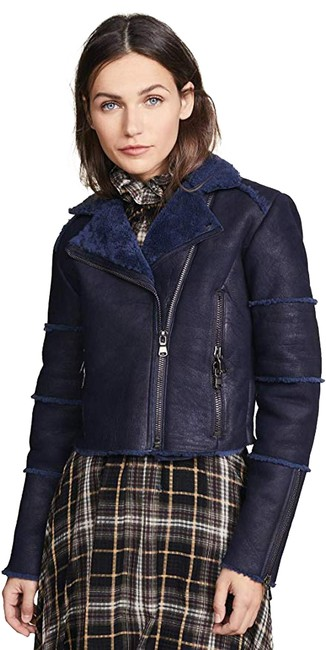 Item - Washed Navy Aiah Cropped Shearling Moto Jacket Size 6 (S)