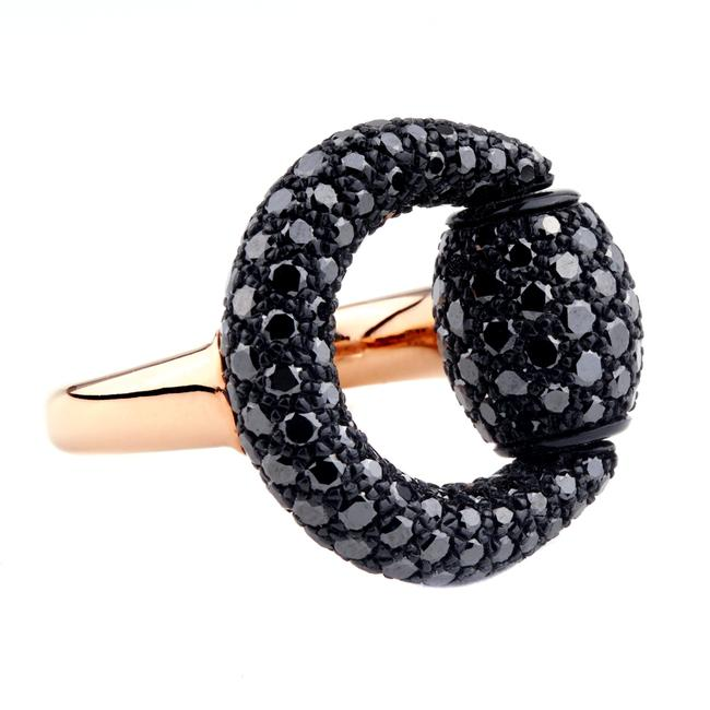 Item - Rose Horsebit Black Diamond Gold Ring