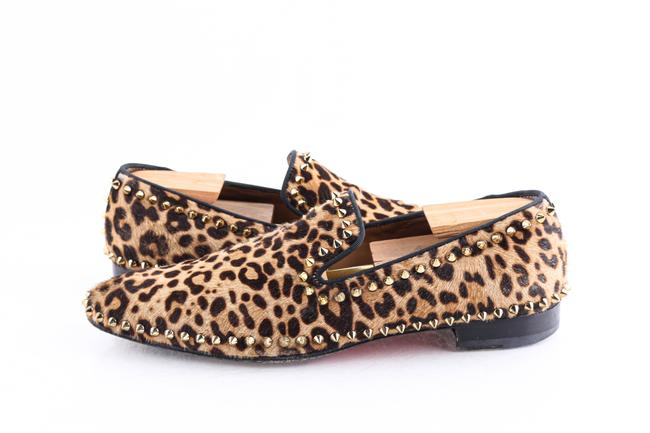 Item - Brown Leopard Print Pony Hair Gold Spike Loafers Shoes