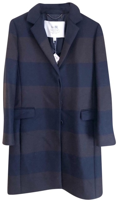 Item - Navy/Mahogany Chesterfield Striped Long Wool Coat Size 10 (M)