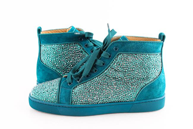 Item - Green Teal Swarovski Crystal Strass and Suede Sneakers Shoes
