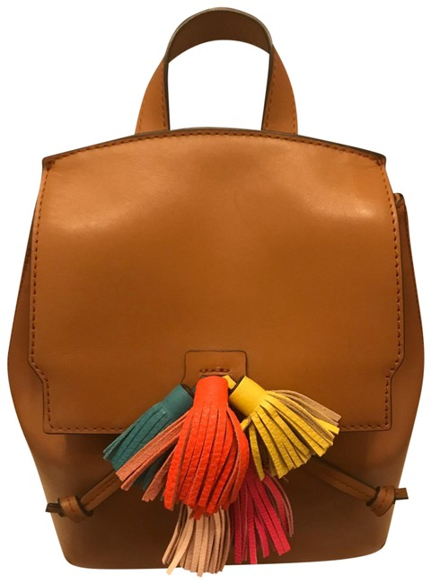 Item - Sofia Tan with Multicolor Tassels Brown Leather Backpack