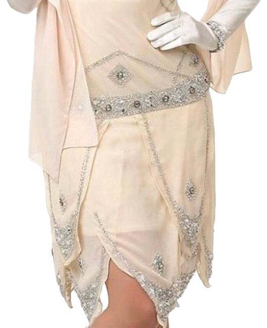 Item - Cream Prom Beaded Flapper Mid-length Cocktail Dress Size 14 (L)