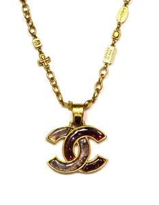 Chanel Engraved Charm Link Necklace w. CC Pendant
