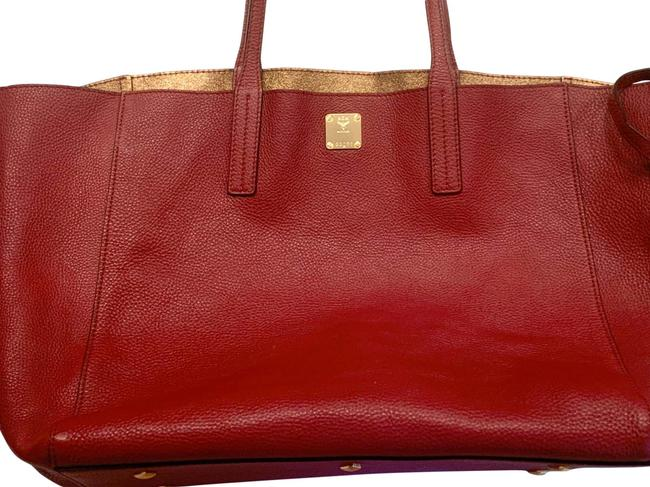 Item - Medium Shopper Project Reversible Shopper (Red; Cowhide Red/Gold Leather Tote