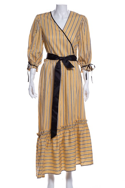Item - Yellow Striped Long Cocktail Dress Size 2 (XS)