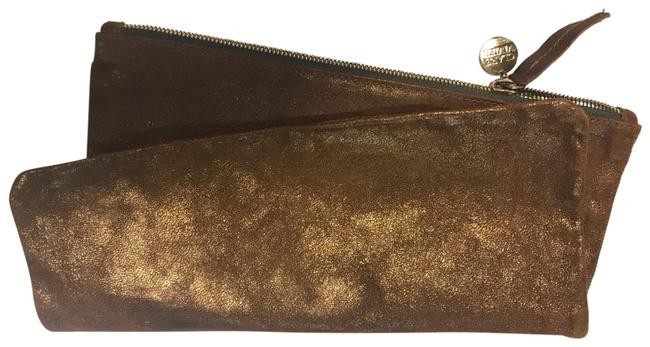 Item - Fold Over Metallic Brown Leather Clutch