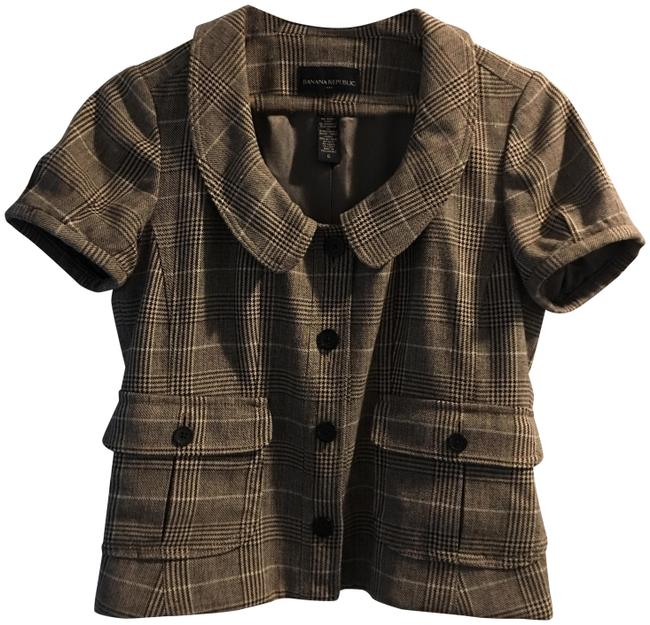 Item - Brown Tweed Button-down Top Size 6 (S)
