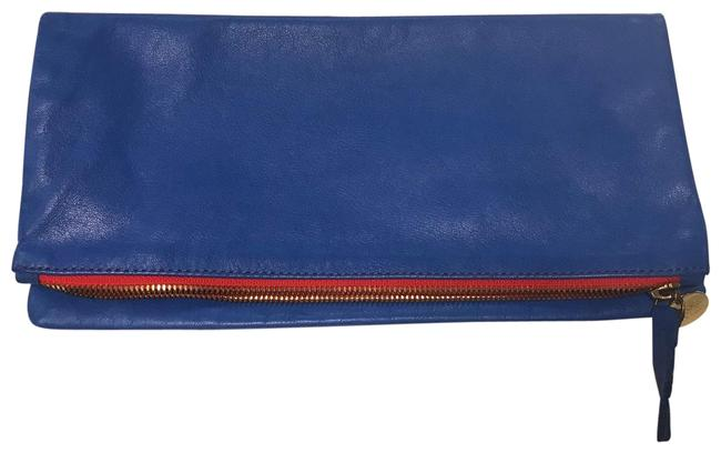 Clare V. Fold Over Cobalt Leather Clutch Clare V. Fold Over Cobalt Leather Clutch Image 1