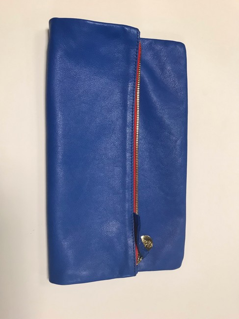Clare V. Fold Over Cobalt Leather Clutch Clare V. Fold Over Cobalt Leather Clutch Image 2
