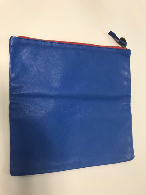 Clare V. Fold Over Cobalt Leather Clutch Clare V. Fold Over Cobalt Leather Clutch Image 3