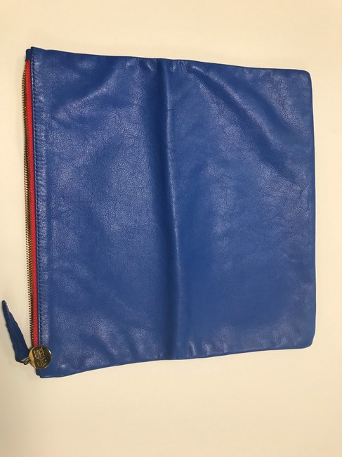 Clare V. Fold Over Cobalt Leather Clutch Clare V. Fold Over Cobalt Leather Clutch Image 4