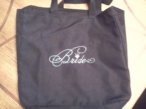 Black with Aqua Thread Bride Tote Bag Luggage