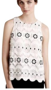 HD in Paris Lace Eyelet Flowers Crochet Scalloped Top White & Black
