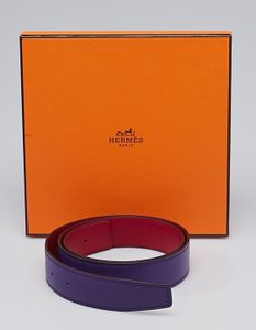 Hermès HERMES 32mm Iris Swift/Rouge Grenat Epsom Leather Belt Strap Size 80