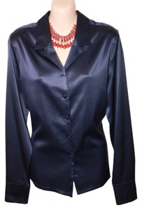 Essentials Boutique Suit Office Wear Sateen Polyester Top Navy Blue