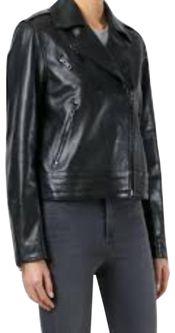 Item - Black And Classic Leather Biker Jacket Size 0 (XS)