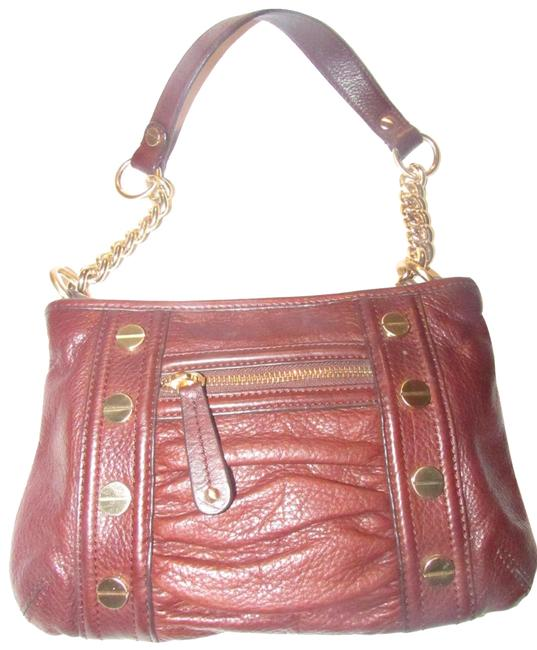 Item - Ruched Purse Heavy Chain Strap Eggplant with Bold Gold Leather Shoulder Bag